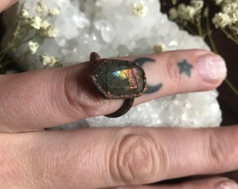 Copper labradorite ring