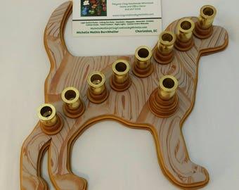 Dog Silhouette   Menorah - Gold Spiral Pattern