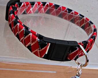 Wide Breakaway Cat Collar in Red and Black Ribbon