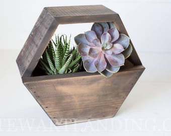 Hexagon Wood Planter Box | Geometric Succulent Hexagon Planter | Flower Box | Rustic Wedding Centerpiece | Wedding Table Decor