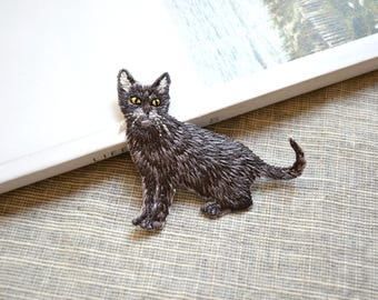 Lovely black Cat patch ,cat iron-on patch, animal iron on patch