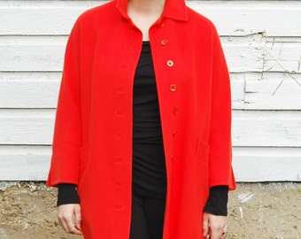 Vintage Red Orange Long Coat with 3/4 Sleeves