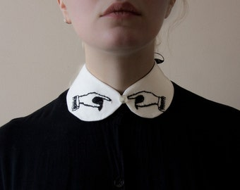 pointing hands collar - white with black embroidery MADE TO ORDER