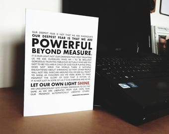 """Our Deepest Fear - Inspirational Quote 5x7"""" Blank Card"""