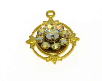 Clearance Sale Swarovski Filigree Gold Plated and AB Crystal 1 - Pc. Filigree Pendant, Article # 62012 Gold AB