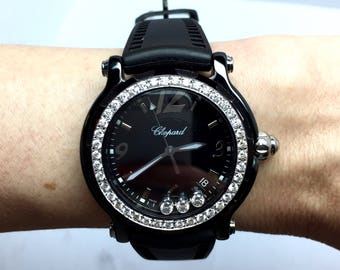 CHOPARD LIMITED EDITION Steel Ladies Watch w/ Floating Factory Diamonds and Original Black Rubber Band