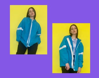 Vintage 90s Y2k 2000s Blue and White Striped Oversized Hoodie Jacket