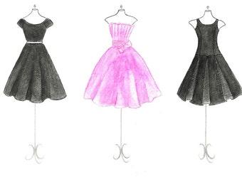 Watercolor Black and Pink Dresses Fashion Illustration- Teen Bedroom Decor- Fashion Wall Art- Fashion Dresses Sketch-Girls Room Decor