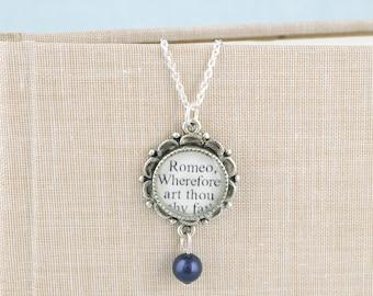 Romeo and Juliet Pearl Drop Necklace - Shakespeare Jewelry - Classic Literature Jewelry - Theatre Jewelry - Literary Wedding Jewelry