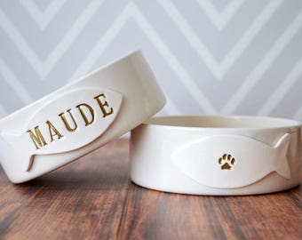 Personalized Cat Bowl -  Small/Medium Size - With Name and Paw Print - Ceramic