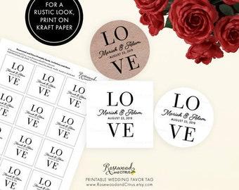 Love Favor Tags, Printable Wedding Tags, Wedding Favor Tags, Favor Gift Tags, Modern Wedding Gift Tags, Wedding Labels, Love Wedding