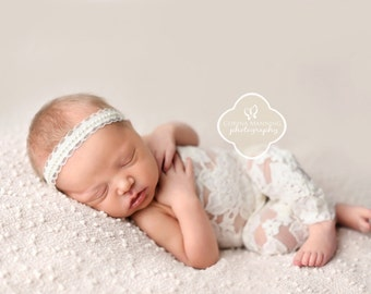 NEWBORN ROMPER, Romper Set, Newborn Pants, Flower Headband, Newborn Photo Romper, Newborn Clothing, Photography Prop, Newborn Prop