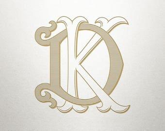 Interlocking Monogram Font - DK KD - Monogram Font - Interlocking
