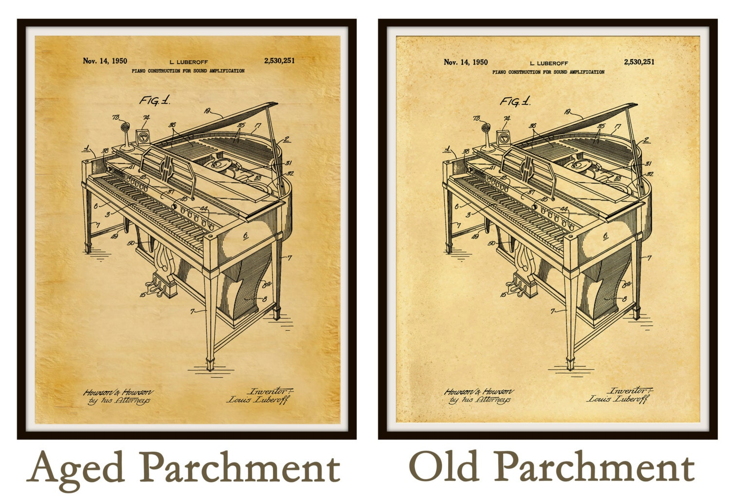 Patent 1950 Piano - Grand Piano - Wall Art - Musical Instrument ...