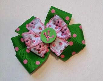 Pink Frozen Initial Hair Bow by Cheryl's Bowtique, pink, Elsa, Disney Vacation, polkadot