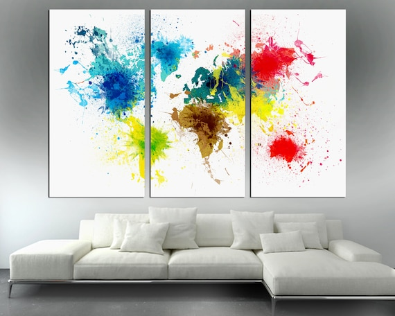 Colorful abstract art world map canvas print 3 panel split gumiabroncs Image collections