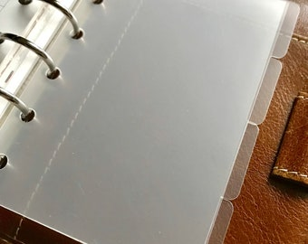 Clear Plastic Pocket Size Dividers set of 4  Top or Side tabs