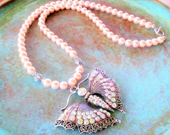 Butterfly necklace, pink pearl necklace, faux pearl necklace, Rhinestone necklace, spring necklace, pastel necklace, crystal necklace
