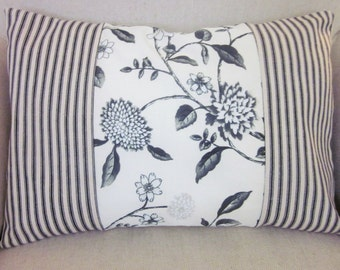 "Toile and Ticking Pillow Covers, Decorative Pillow, Lumbar 12"" x 16"", Black and Beige Ticking and Floral Toile"