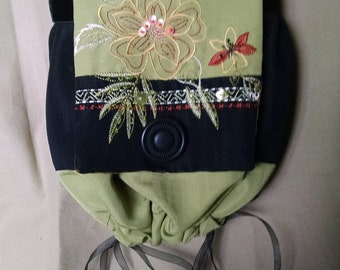 Pouch purse, Flapper purse, Boho bag, Embroidered bag