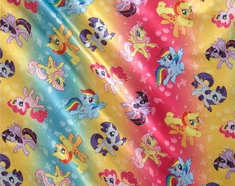 Springs Creative - Springs Brushed Back Satin Fabric - Hasbro My Little Pony Ombre Toss Rainbow