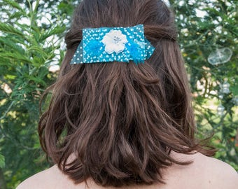 Organza satin turquoise blue feather and white flower hair clip