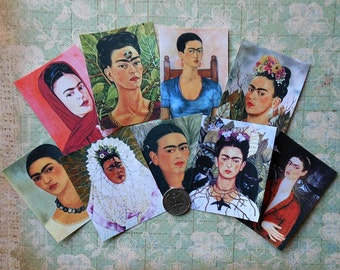 9 Frida STICKERS- Your CHOICE of Tiny, Small, Medium or Large- Frida Kahlo paintings Frida images art prints ready to use Frida shrine kits