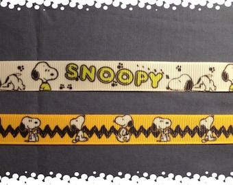 3/4 Wide Custom Made Adjustable SNOOPY Patterns Grosgrain Dog Collar