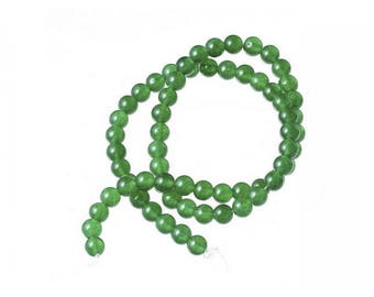 Agate beads 60 natural 6mm dark green color