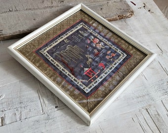 Japanese Embroidery Framed Picture, Vintage Textile Art, Fabric Wall Art Square Black Red, Collectors Embroidered Art, Asian Decor Fiber Art