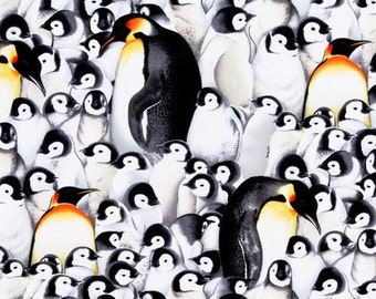 Penguin Fabric by the Yard, Quilting Fabric, Destash Fabric, Baby Penguins, Bird Fabric Cotton, Black and White Fabric, Novelty Fabric