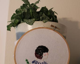 Fern girl hand embroidery