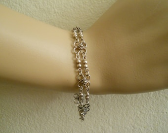 """Flower Bracelet, .925 Silver, 7 1/2"""", Silver Wire and Beads, Marked FAS"""
