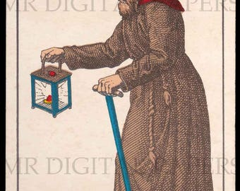 Antique Card / Antique Tarot Card / Hermit Playing Card / Digital Instant Download / Paper Ephemera / French Playing Card / Tarot Print Art