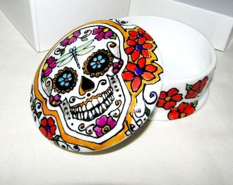 Customized Day of the Dead Wedding Box Sugar Skull Trinket Box Hand Painted Porcelain Mexican Folk Art