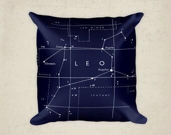Leo Constellation Pillow - Leo Star Sign - Zodiac Art - Leo Art - Constellation Art - Astronomy Pillow - Star Sign Gift - Lion Pillow