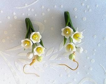 Lily of the valley earrings -Spring flowers earrings -White flower earrings-Floral earrings-Clay flower earrings