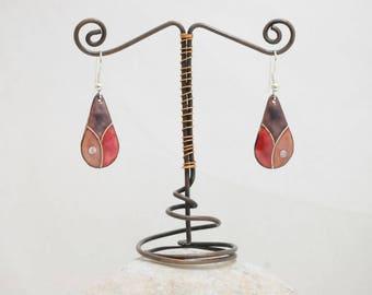 Cloisonné, purple, purple and Red enamel earrings