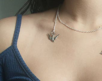 Freedom Necklace / Bird & Cage Necklace / Quirky / Modern / Silver / Minimalist / Charm Neckace / Choker / Inspirational