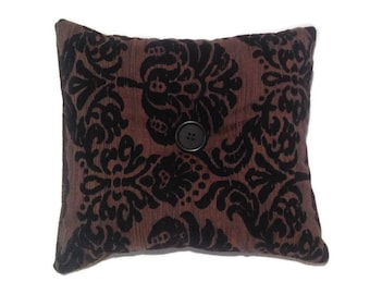 Throw pillow, oreiller décoratif de jet, broderie de Damas noir, rayée, recto-verso, Home Decor, Accent oreiller, oreiller Toss