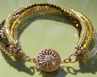 Golden Swarovski Crystal and 14KGF Bracelet