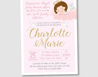 Girl Baptism Invitation, Christening Invitations, DIGITAL personalized Invitation