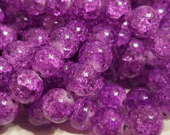 Crackle Glass Beads - 12mm - 20 Beads -  Purple Crackle Glass Beads - Purple Crackle Beads