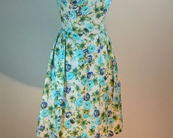 Cotton 50s Dress// 50s Spring Dress// Mad Men Dress (F1)