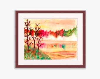 Autumn Landscape Watercolor, Autumn Painting, Autumn Watercolor, Autumn Landscape, Autumn Artwork, Printable Wall Art, Home Decor