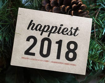 New Years Cards - Set of 10 - Happy 2018 - Recycled Holiday Cards