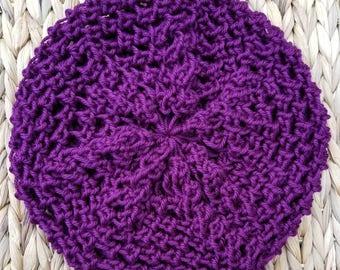 Hand Knit Purple Slouchy Beret