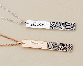SALE 20% OFF - Actual Fingerprint Bar Necklace - Fingerprint Necklace- Actual Signature - Memorial Jewelry - Mother's Day Gift