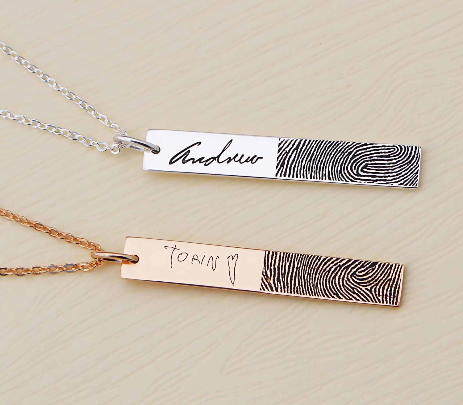 customized engraved jewelry collections heart name fingerprint with pendant necklace