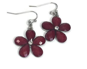 Floral Earrings Red Flower Earrings Mod Bright Garnet Red Earrings Rhinestone Glittery Hip Dangle Earrings